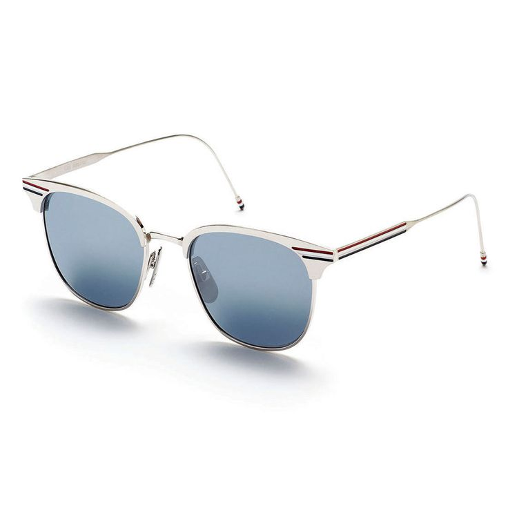 Thom Browne | Eyewear | Shiny Silver Sunglasses With Silver Mirrored Lens
