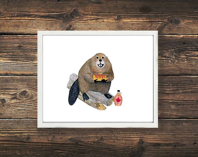 Canadian Beaver with Maple Syrup + Pancakes Illustration. This little guy is so cute & SO Canadian <3 Browse unique items from WildNorthCreations on Etsy, a global marketplace of handmade, vintage and creative goods.