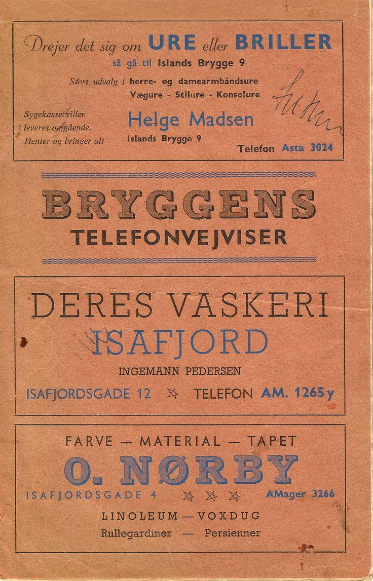 Efter en tur i Islands Brygges lokalarkivs gemmer, fandt jeg Islands Brygges telefonvejviser fra ca. 1956. Det kunne jeg ikke stå for, og måtte straks hjem og indscanne det. Jeg er født i 1967, så mange af de forretninger som findes i telefonlisten kan jeg ikke huske. Der er dog enkelte som jeg genkender, bla. Farvehandlen O.Nørby i Isafjordsgade...  #Islandsbrygge #Bryggen #Telefonvejviser #Telefontavle #Telefonliste