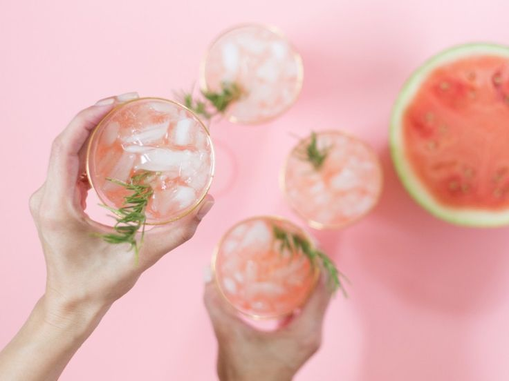 Spiked Watermelon Rosemary Punch for July 4th | Lovely Indeed
