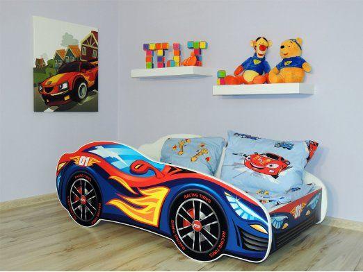 Letto singolo BAMBINO CAMERETTA LETTINO AUTO bambini con materasso !!! (AUTO ROSSA- AZZURRO) EURO 99,00