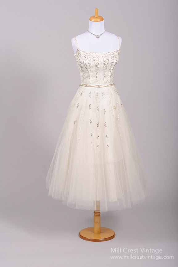 1950's Sequin Encrusted Tulle Vintage Wedding Dress : Mill Crest Vintage