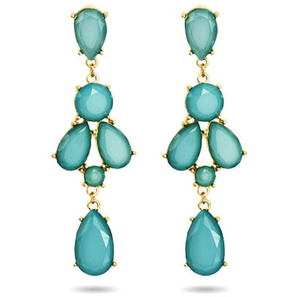 Peardrop Teal Chandelier Earrings ($26) ❤ liked on Polyvore featuring jewelry, earrings, teal blue earrings, chandelier jewelry, teal chandelier earrings, teal earrings and earring jewelry