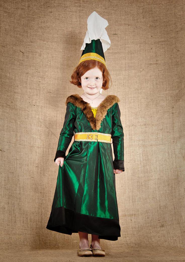 Robe de princesse médiévale fin 15ème pour fille de 4 à 12ans