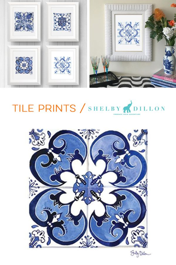 Classy home decor gifts under $100. Blue White Portugese Tile Prints from Shelby Dillon Studios. See all Mediterranean art prints in the collection...