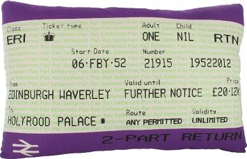 Hand silkscreen printed travelcard cushion by Ashley Allen to celebrate the Queens Diamond Jubilee.