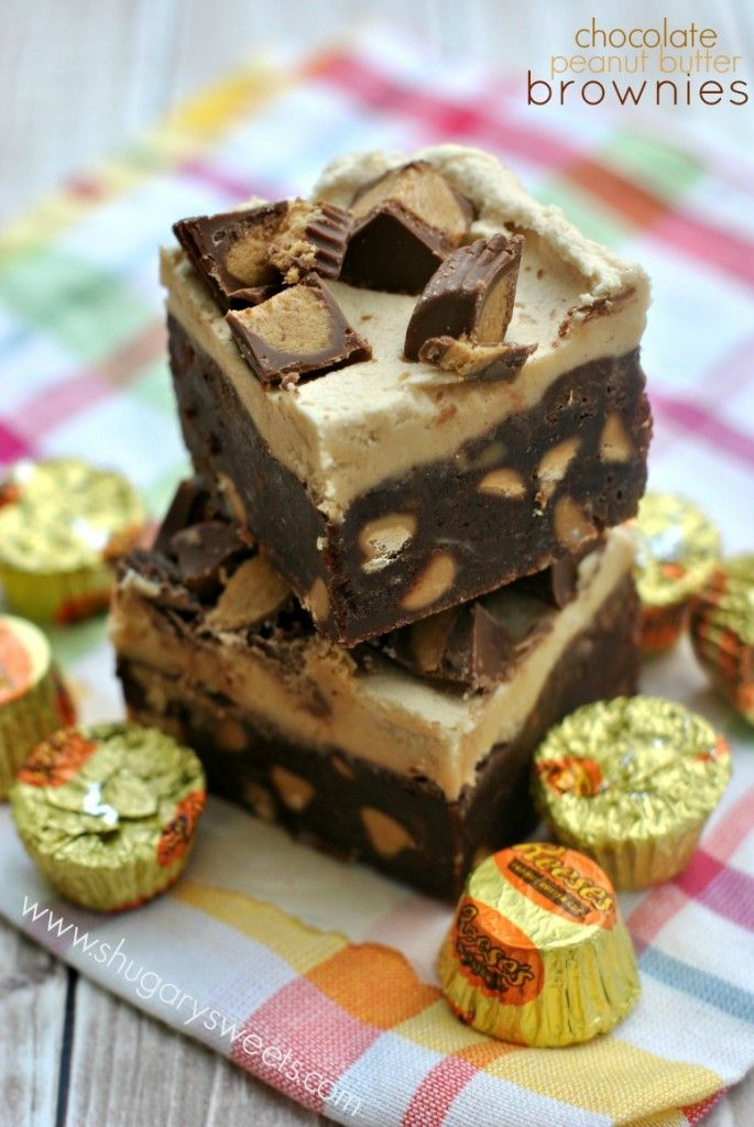 Chocolate Peanut Butter Brownies - Shugary Sweets