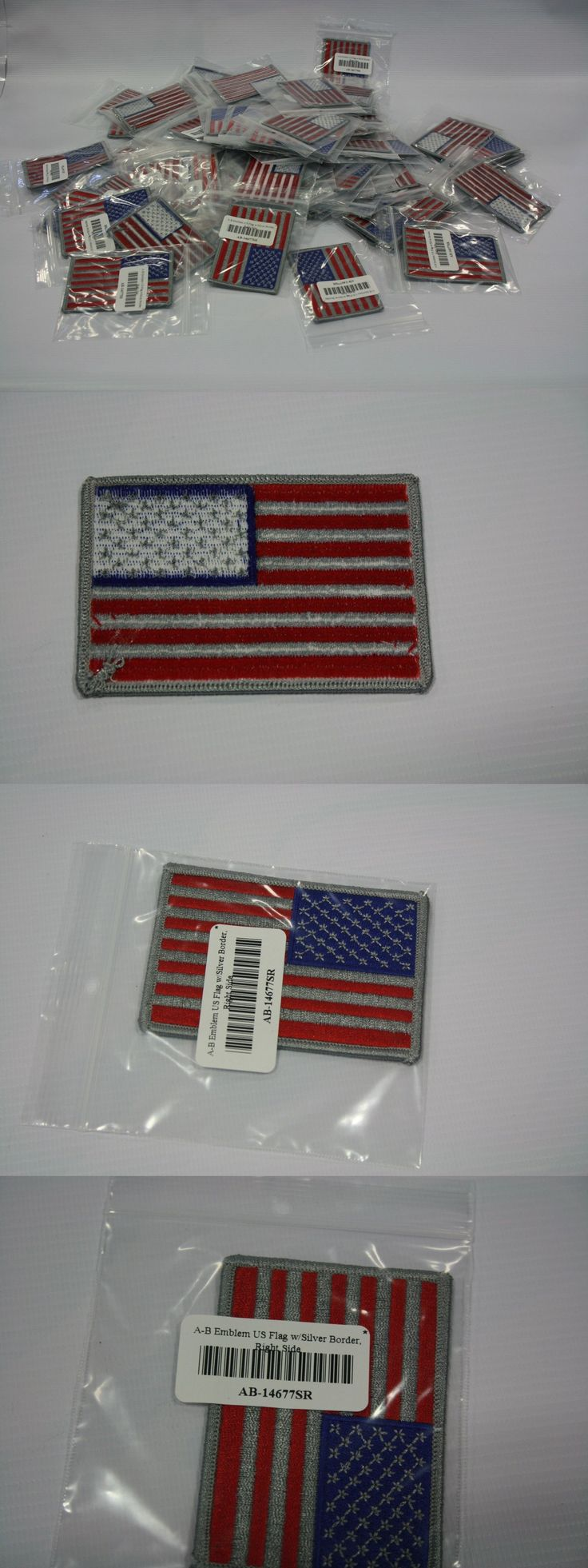Patches 113337: Lot Of 100 Us American Flag Patches - Silver Lines And Stars - Iron On -> BUY IT NOW ONLY: $30 on eBay!