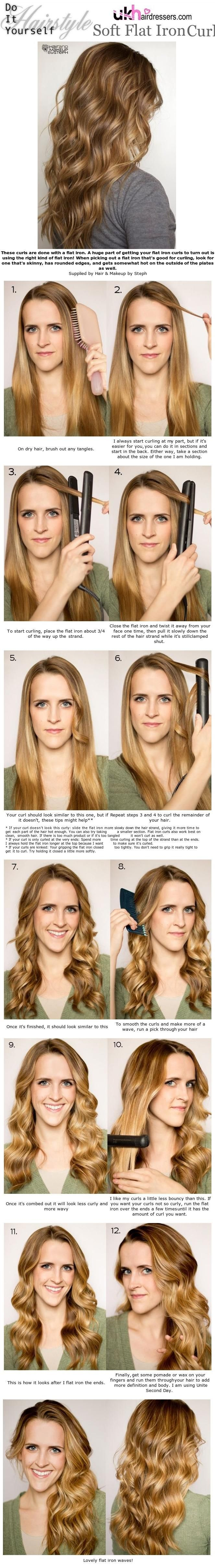 DIY Styles - Soft Flat Iron Curls visit www.ukhairdressers.com for #hairstyles and #hair inspiration