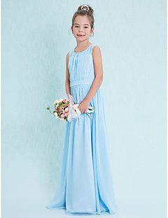 Lanting Bride® Floor-length Chiffon Junior Bridesmaid Dress Sheath / Column Scoop with Draping – USD $ 69.99