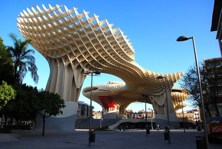 29 Beautiful Works Of Architecture That Come Alive At Night - Metropol Parasol in Spain
