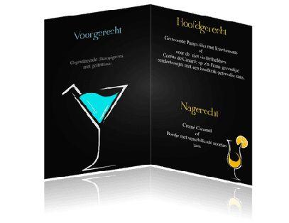 Een mooie menukaart als borrelkaart of cocktailkaart. Met vrolijke kleuren, lekker 's zomers.