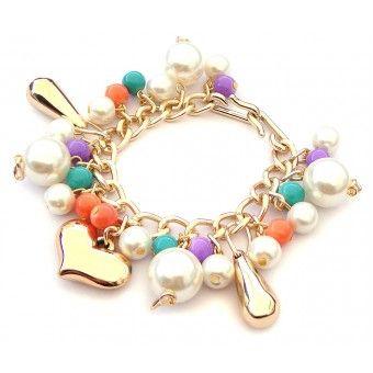 Pulsera con Perlas, Cadena de Aluminio y Dije de Corazón
