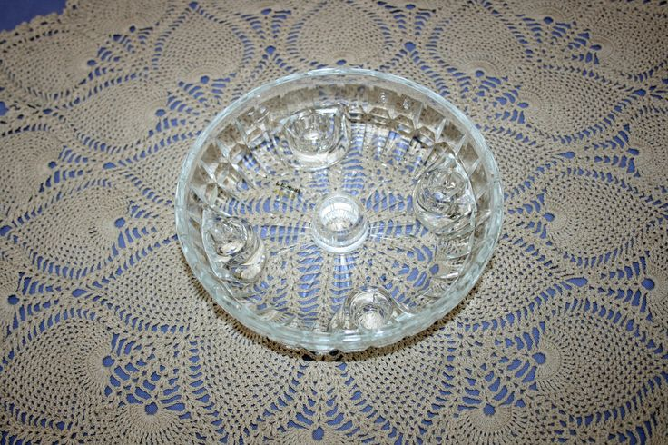 Vintage L.E. Smith Glass Crystal 5 Taper Candlestick Centerpiece Dish multi candle holder by KattsCurioCabinet on Etsy