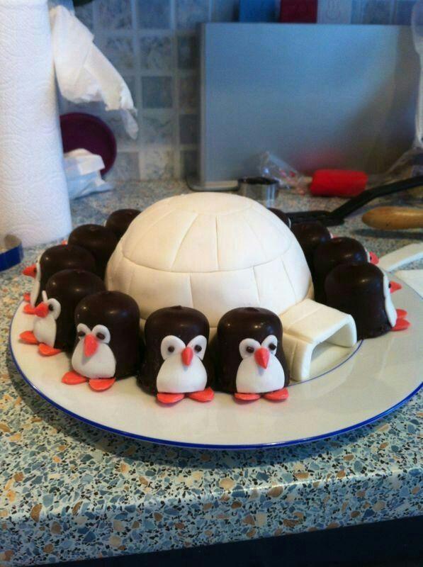 Deze iglo met pinguins heb ik gemaakt als traktatie voor Micks eerste verjaardag.