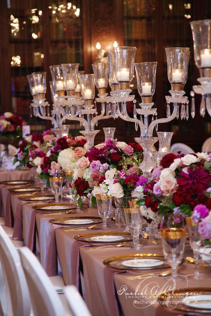 Crystal Candelabra centrepieces separated by low florals in crystal bowls at Casa Loma by Rachel A. Clingen.