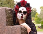 Autumn Harvest Mask for Day of the Dead/Dia de los Muertos/Halloween/Masquerade/Costume. $199.00, via Etsy.