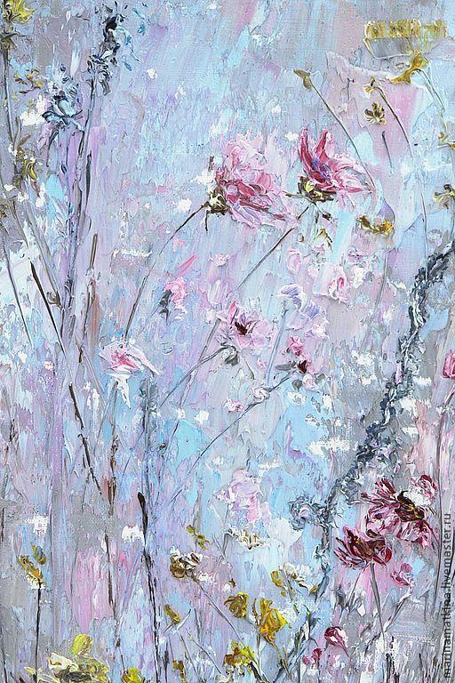 Легкость. - картина цветов,картина маслом,масло,голубая картина,голубые цветы