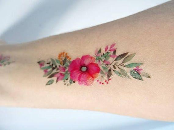 Fleurs A L Aquarelle Tatouage Temporaire Bouquet De Fleurs