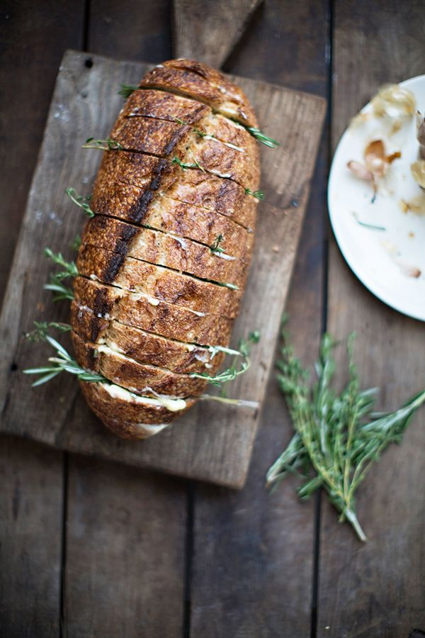 Rustic Herb Garlic Bread #thanksgiving #sidedish