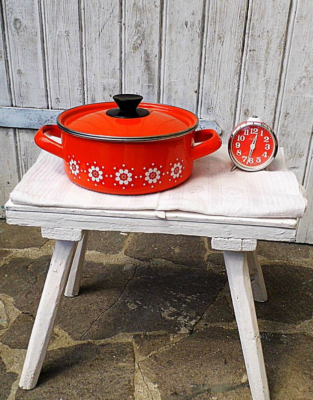 Vintage Emaille Topf 70s ORANGE ROT