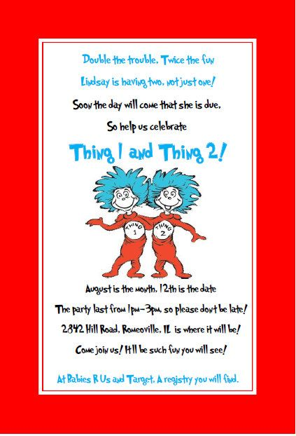 dr seuss thing 1 thing 2 baby shower babies etsy and dr seuss