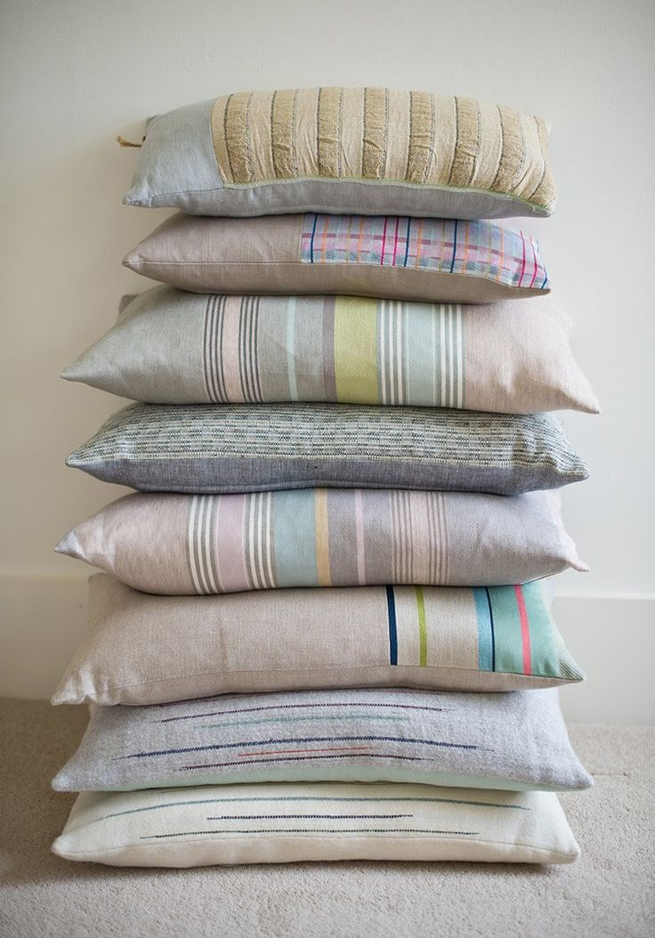 Handwoven in natural yarns, this stack of pretty textured cushions by Laura Fletcher has a calm yet contemporary palette. Meet textile designer Laura Fletcher in issue four of Warehouse Home interior design magazine