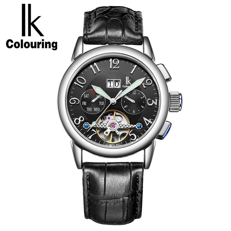 >> Click to Buy << IK Colouring Luxury Men Watch Automatic Mechanical Watches Genuine Leather Strap Male Clock Skeleton Wristwatch reloje hombre #Affiliate
