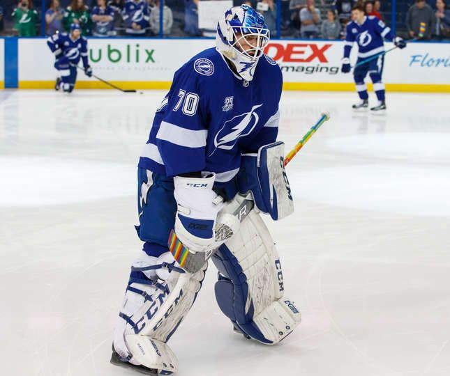 Tampa Fl February 28 Goalie Louis Domingue 70 Of The Tampa Bay Lightning Has Rainbow Tape On His Stick Blade In Tampa Bay Lightning Goalie Buffalo Sabres