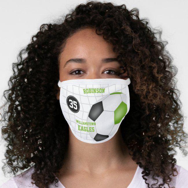 Cute Lime Black Girls Name Jersey Number Soccer Face Mask Zazzle Com In 2020 Black Girls Face Masks For Kids Skin Care Face Mask