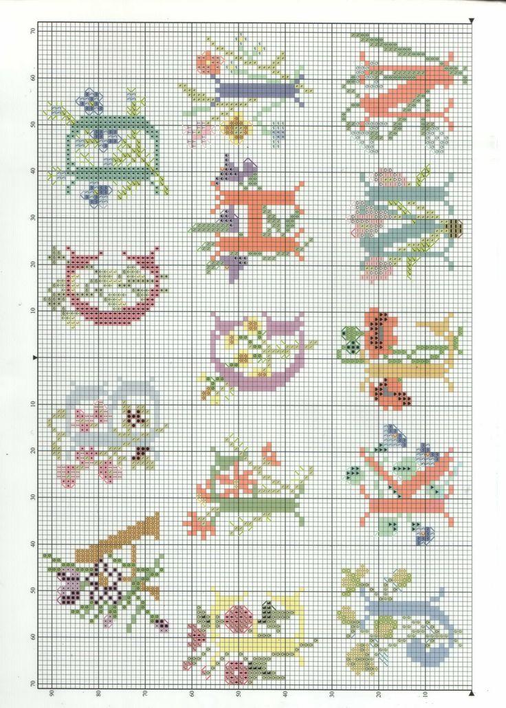 Embroidery letters cross stitch makaroka