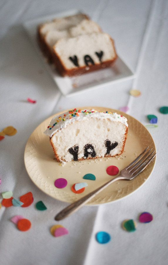Cute Typography Birthday Cake Idea!  Really cute idea and nice way to surprise someone!