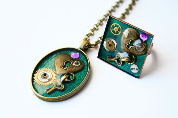 Steampunk Set with Clock Gears and Heart by JeanneNoireRepunked