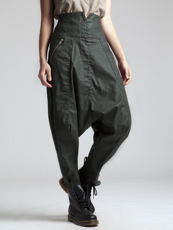 Resin Cotton Lycra Low Crotch Trouser by LURDES BERGADA