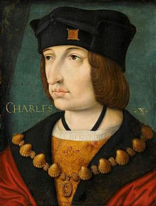 Charles VIII, called the Affable, French: l'Affable (30 June 1470 – 7 April 1498), was a monarch of the House of Valois who ruled as King of France from 1483 to his death in 1498. He succeeded his father Louis XI at the age of 13.[1] His elder sister Anne of France acted as regent jointly with her husband Peter II, Duke of Bourbon[1][2] until 1491 when the young king turned 21 years of age.