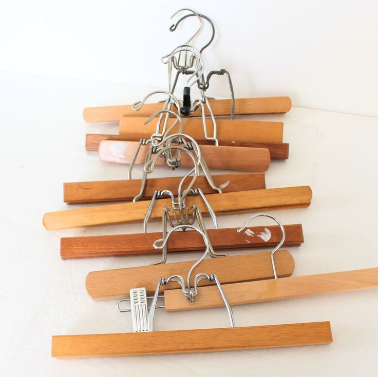 wood wooden pant hangers lot of 10 skirts pants clamp vintage u0026 modern mix