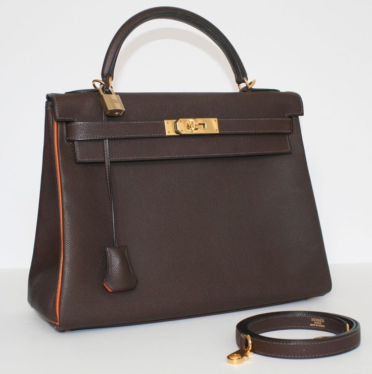 GORGEOUS HERMES KELLY BAG BROWN EPSOM W. ORANGE PIPING & LINING 32 CM, USED ONCE #HERMES #KELLY