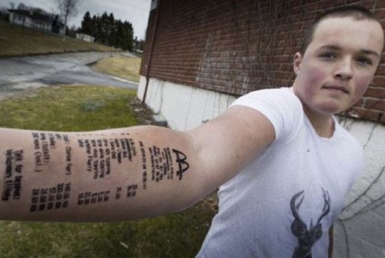 Teen Tattoos McDonald's Receipt on His Arm, a Week Later Tattoos the Tattoo Receipt on His Other Arm   E! Online Mobile