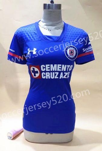 25c81d005bb 2017-18 Cruz Azul Home Blue Thailand Female Soccer Jersey AAA ...