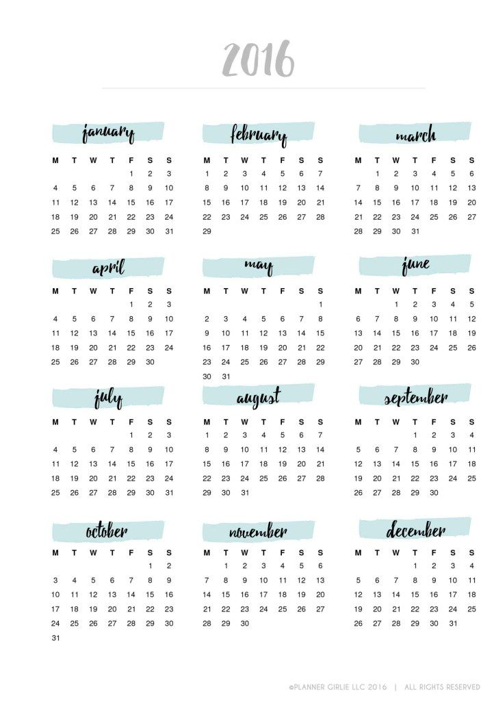 2016 Planner Calendar | Printable - Freebie Friday - Planner Girlie