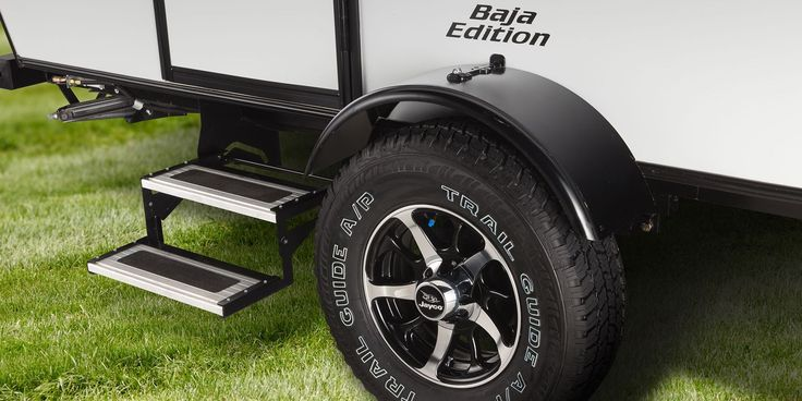 Off-road tiresThe Baja Package boasts 15-inch off-road mud tires, five inches of clearance and double entry step.