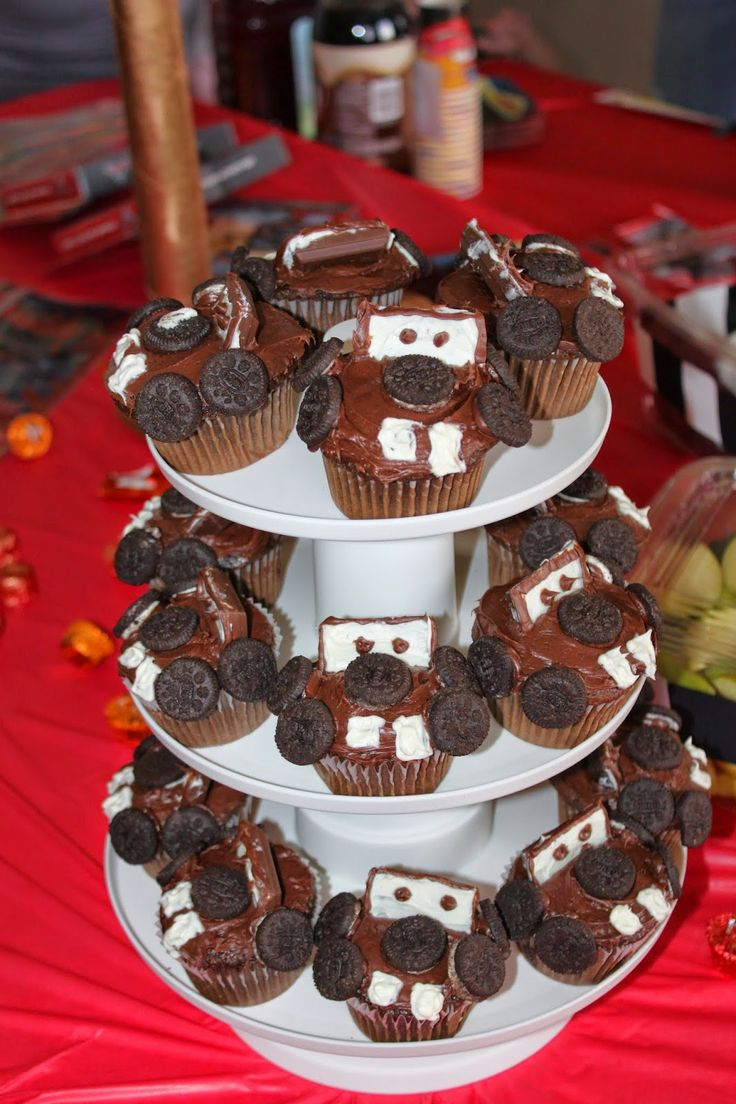 Cars birthday party, tow mater cupcakes.  So easy even I could do them.