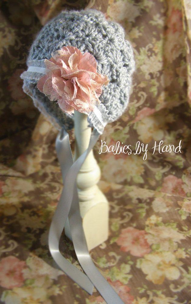 Newborn Vintage Inspired Crochet Baby Bonnet, Newborn Baby Girl Bonnet Photo Prop Hat, Baby Girl Bonnet, Shabby Chic Baby Bonnet. $20.00, via Etsy.