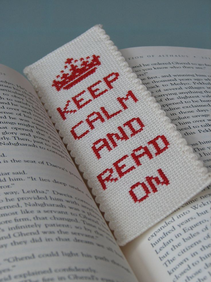 Cross Stitch Bookmark Pattern: Keep Calm And Read On (PDF). $2.50, via Etsy.