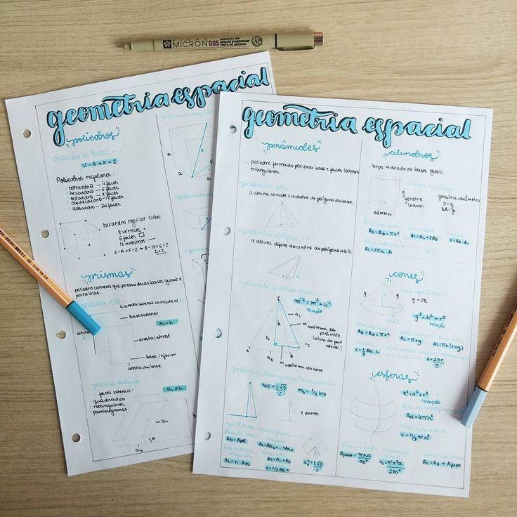 """452 curtidas, 28 comentários - Anna Flávia (@studyannaflavia) no Instagram: """"• Geometria Espacial • #geometriaespacial #prismas #poliedros #resumo #formulas #geometeria…"""""""