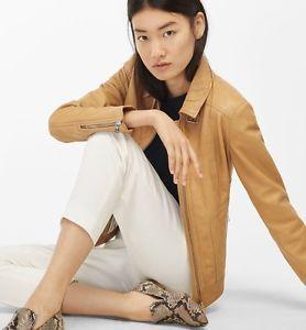 Massimo Dutti Soft Leather Women'S Jacket TAN Long Sleeve SZS   eBay