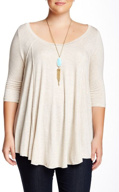 Plus Size Elbow Sleeve Heathered Jersey Knit Blouse