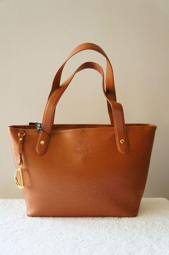 Auth Lauren by Ralph Lauren Purse Newbury Leather Shoulder Shopper Tote Bag