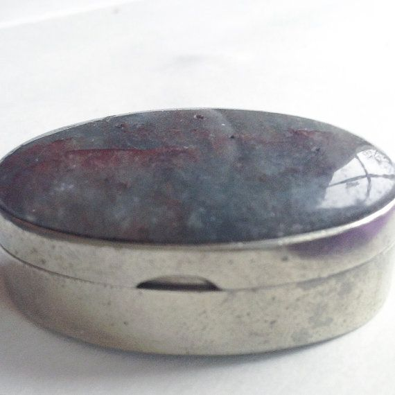 For Her, Antique Pill Box, Silver Pill Box, Oval Pill Box, Antique Silver Box, Oval Nickel Silver Box, Hinged Pill Box, Mexican Pill Box