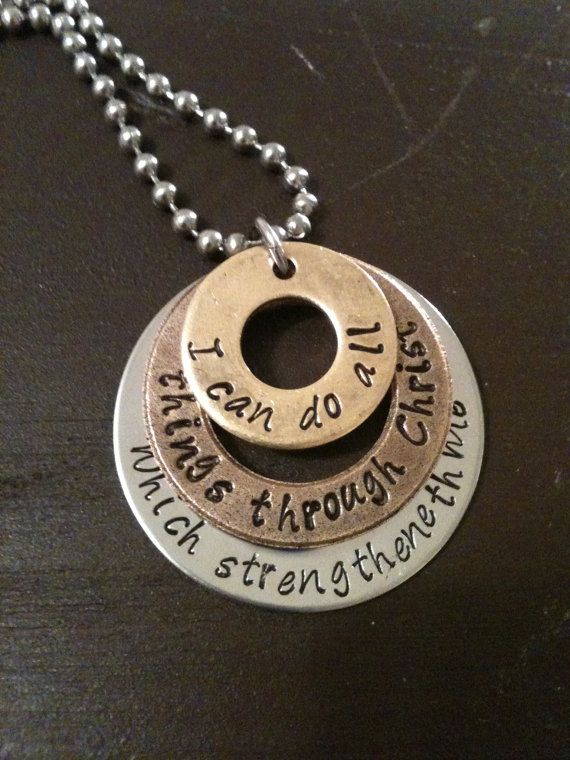 Hand Stamped Jewelry Charm Necklace Pendant Inspirational Philippians 4:13
